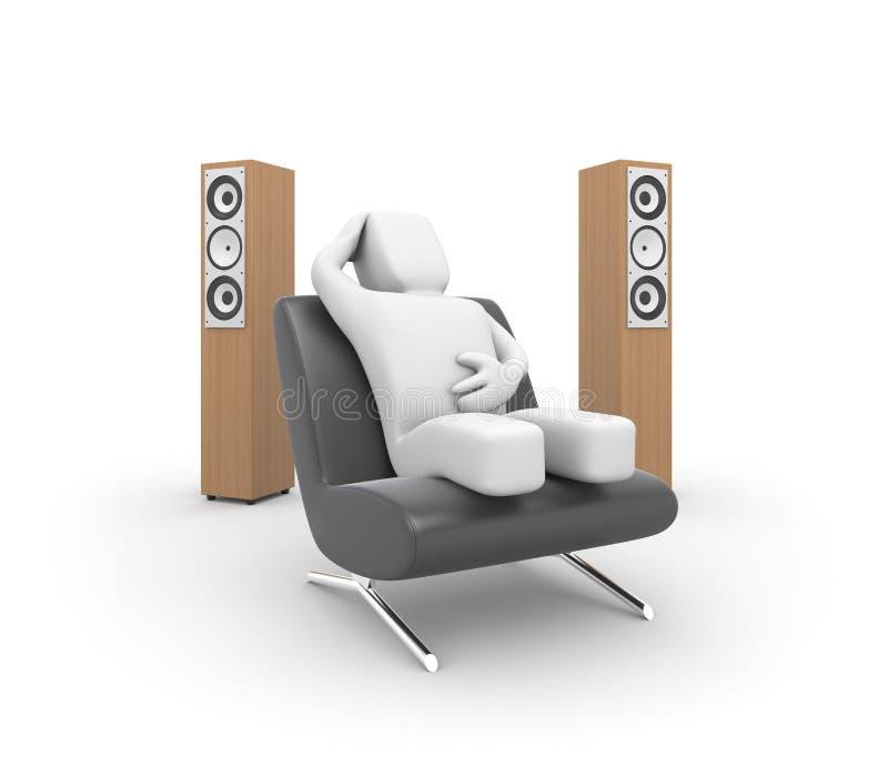 De persoon luistert aan muziek vector illustratie