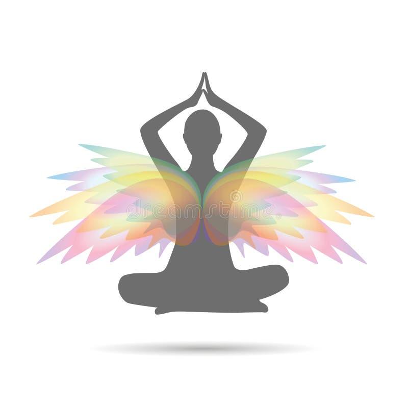 De persoon mediteert in een lotusbloem stelt met kleurrijke vleugels stock illustratie