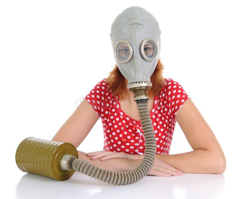 De persoon met gasmasker stock foto's