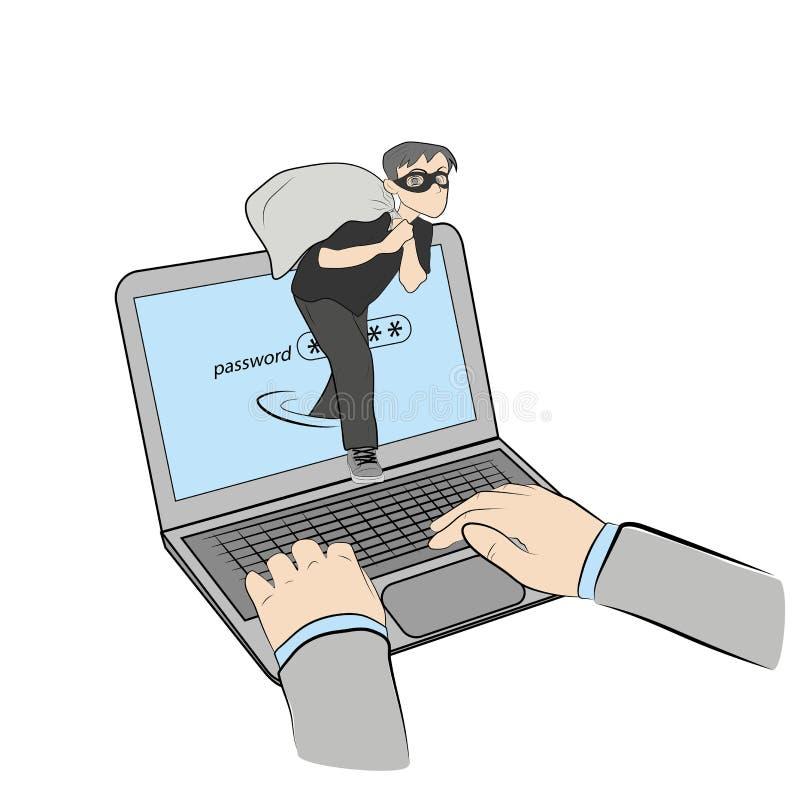 De persoon met de zak komt uit de computer diefstal in het netwerk Vector illustratie stock illustratie