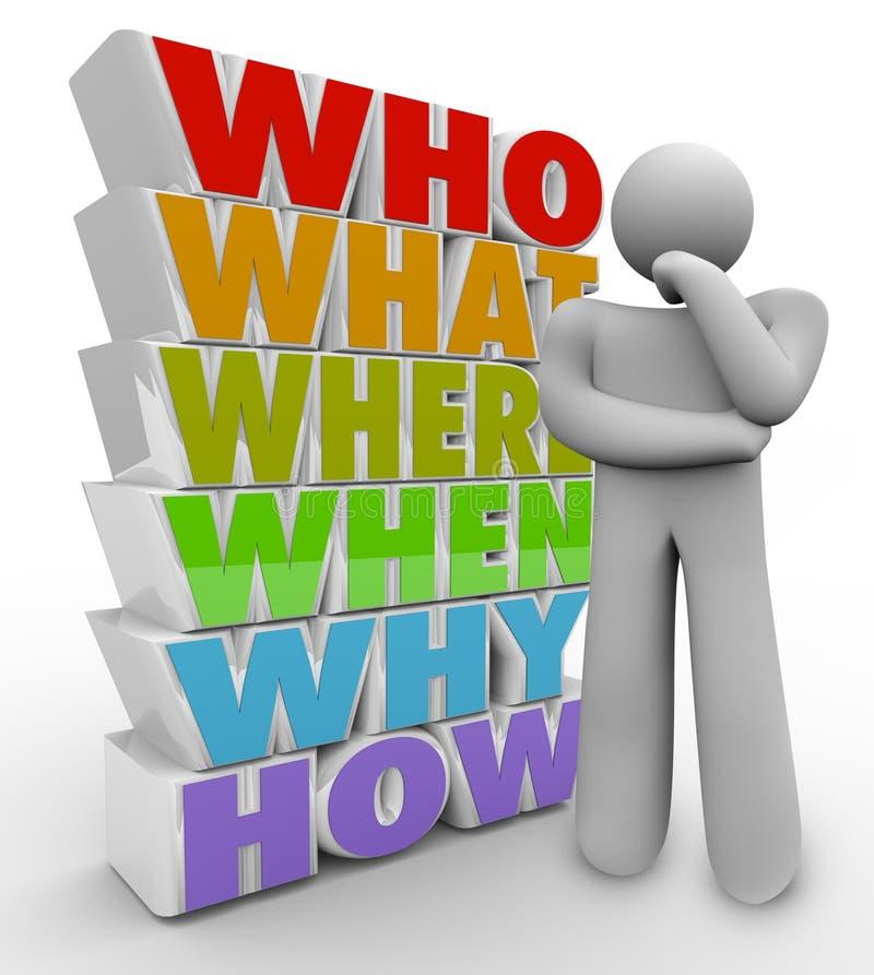 De Persoon van de denker vraagt Who van Vragen wat waar vector illustratie