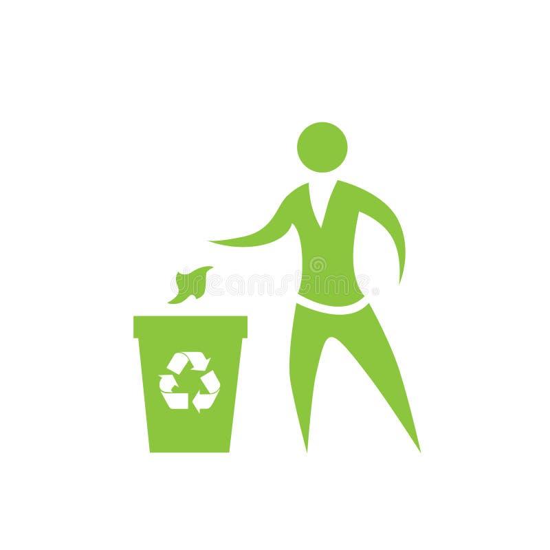 De persoon werpt vuilnis om de vector van het baksymbool te recycleren stock illustratie