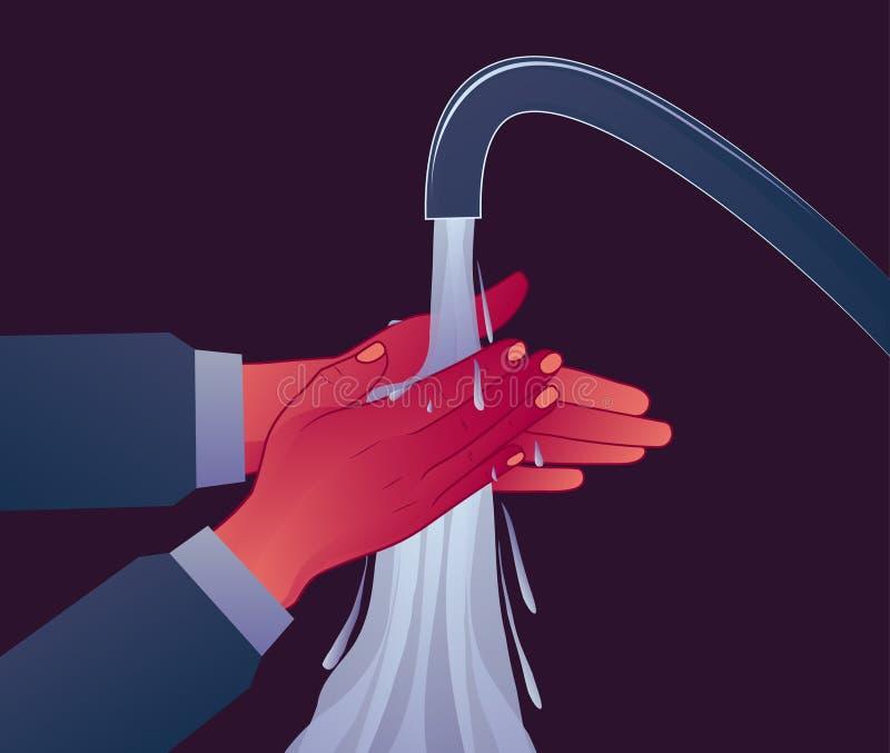 De persoonlijke hygiëne, wast uw handen onder de druk van water Preventie van ziekten OCD-symptoom vector illustratie