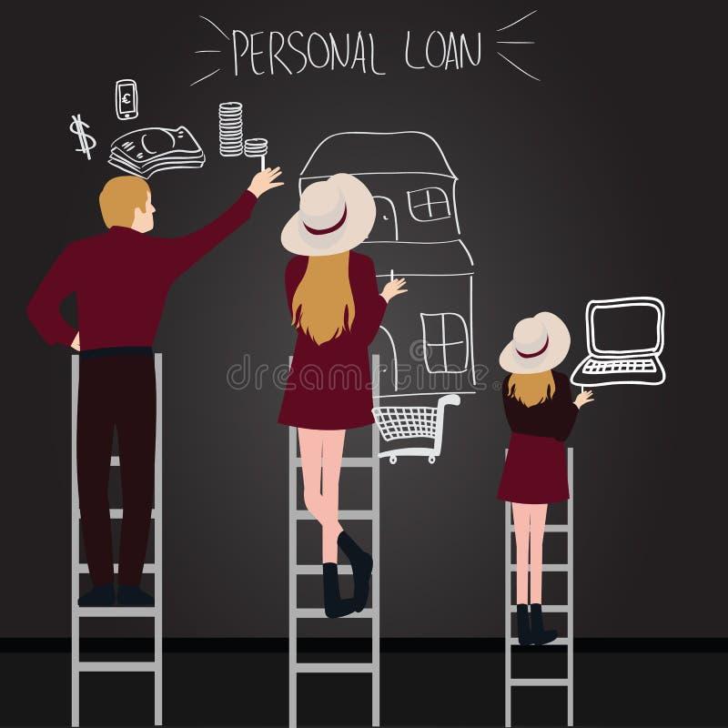 De persoonlijke mensen van de leningsschuld in familie proberen om te krijgen wat zij bereik door ladder van laptop van het huisg royalty-vrije illustratie