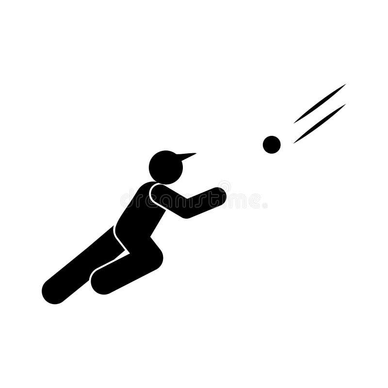 De persoons glyph pictogram van de honkbalslagman r De tekens en de symbolen kunnen voor Web, embleem worden gebruikt, royalty-vrije illustratie