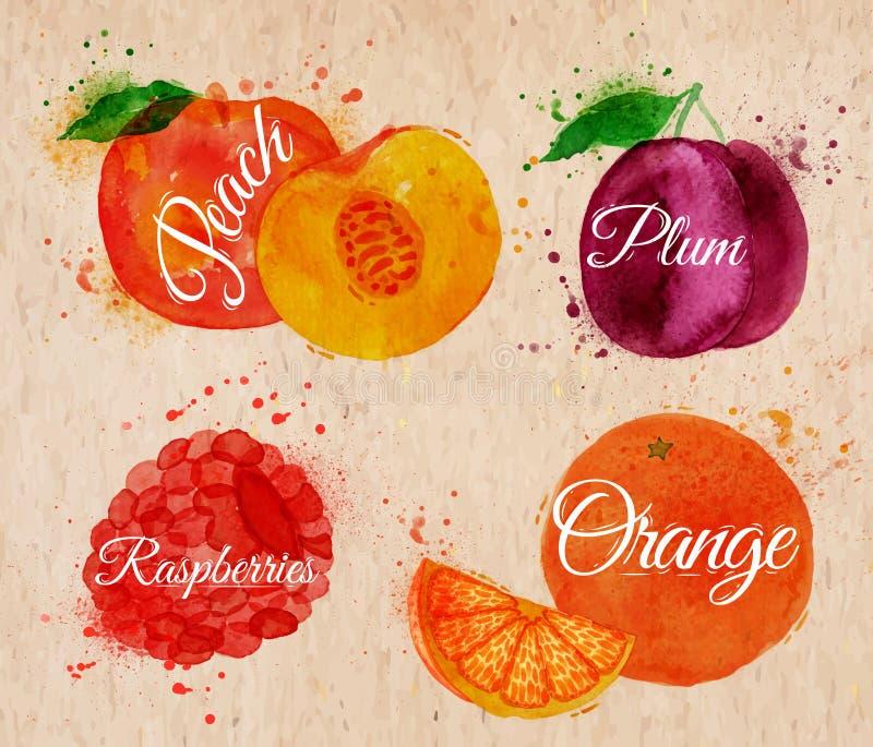 De perzik van de fruitwaterverf, framboos, pruim, sinaasappel binnen stock illustratie