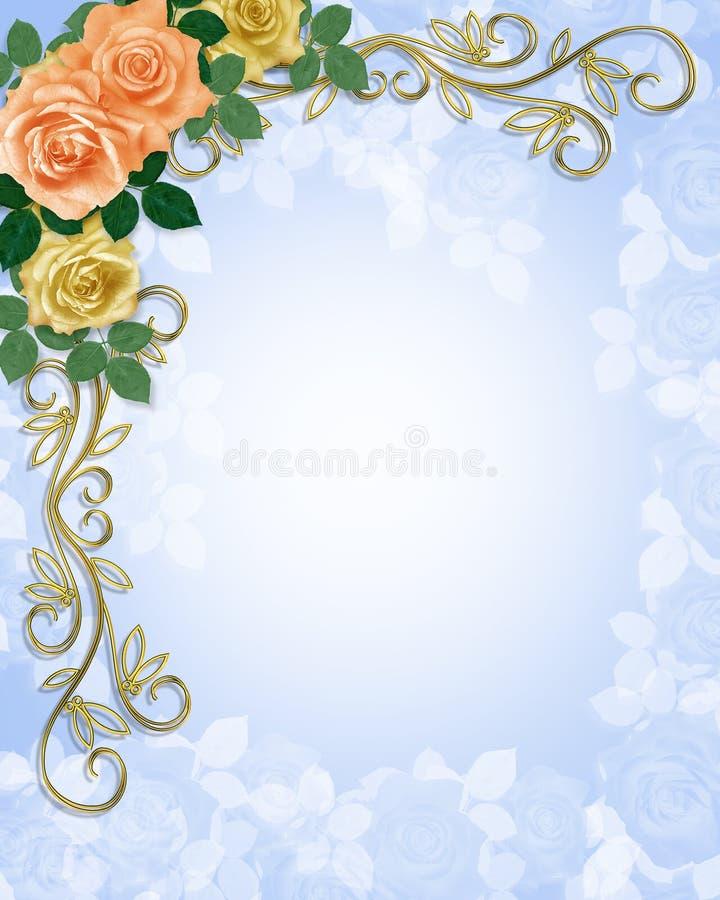 De Perzik van de Uitnodiging van het Huwelijk van het Malplaatje van rozen vector illustratie