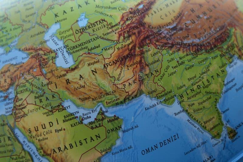 De Perzische Kaart van Iran stock fotografie