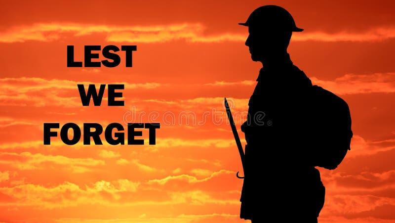 De peur que nous oubliions l'Australien ANZAC Tribute photo stock