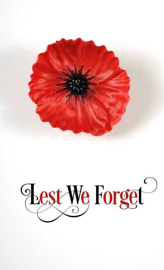 De peur que nous oubliions, la Flandre rouge Poppy Lapel Pin Badge sur le blanc - verticale image libre de droits