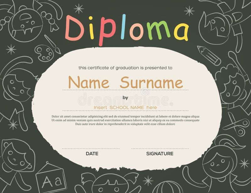 De peuterachtergrond van het het Diplomacertificaat van basisschooljonge geitjes vector illustratie