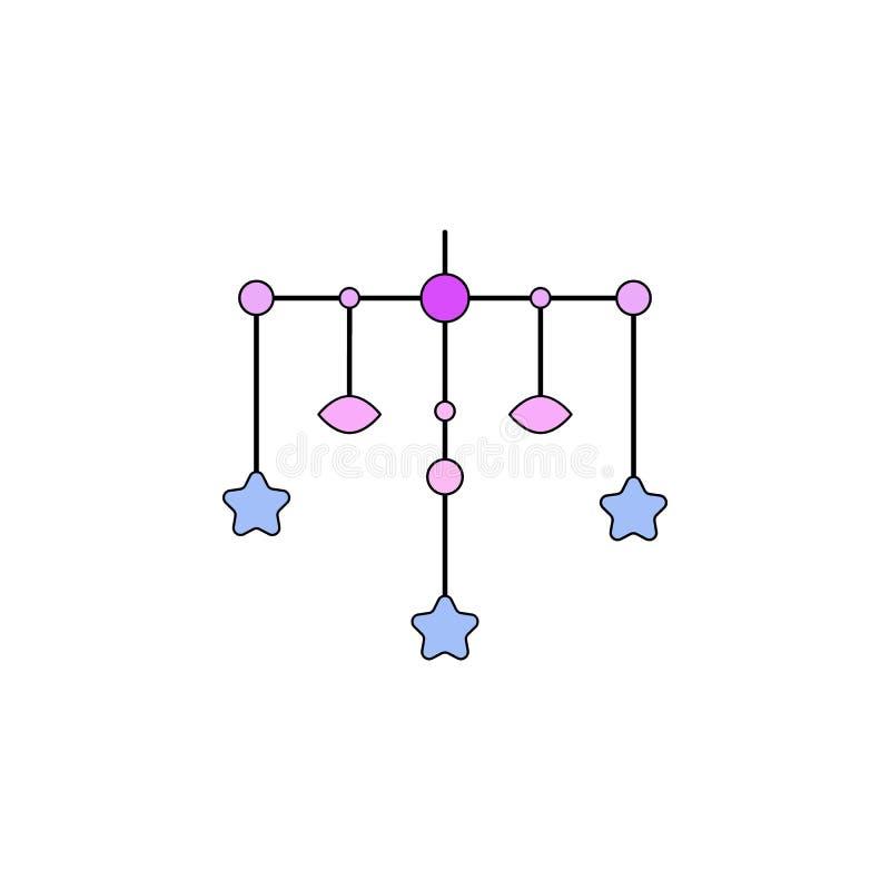 De peuterstuk speelgoed gekleurd pictogram van de beeldverhaalschommeling De tekens en de symbolen kunnen voor Web, embleem, mobi stock illustratie