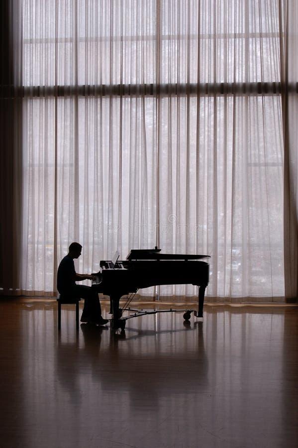 De pianist van het silhouet stock afbeeldingen