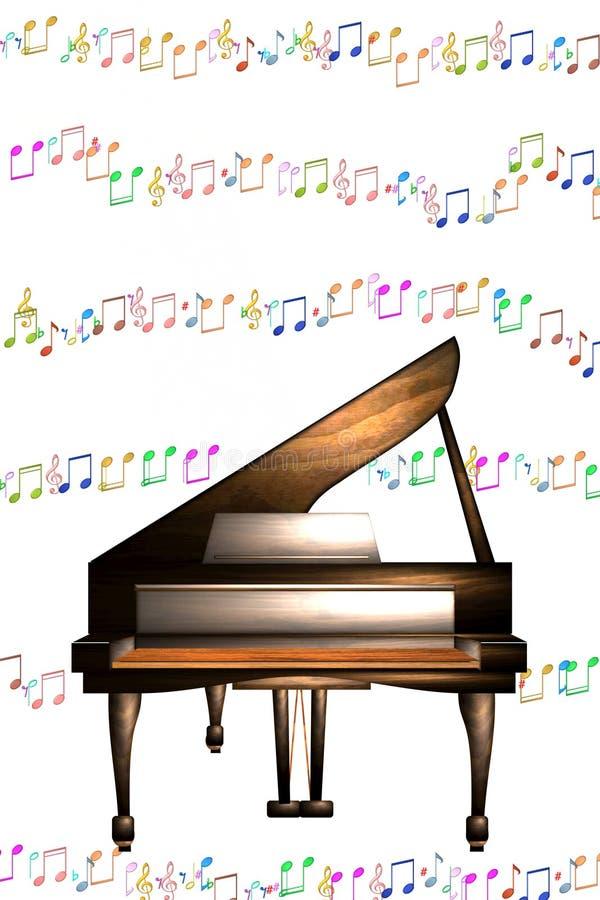 De piano neemt nota van muziek stock foto's