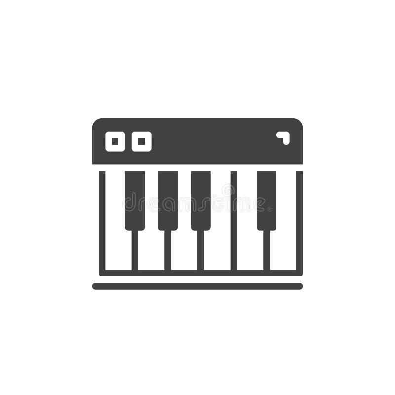 De piano sluit pictogram vector, gevuld vlak teken, stevig pictogram dat op wit wordt geïsoleerd stock illustratie