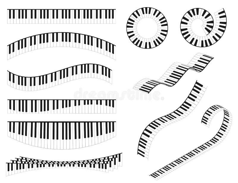 De piano tikt Lijn Verschillende Types Vormreeks in Vector royalty-vrije illustratie