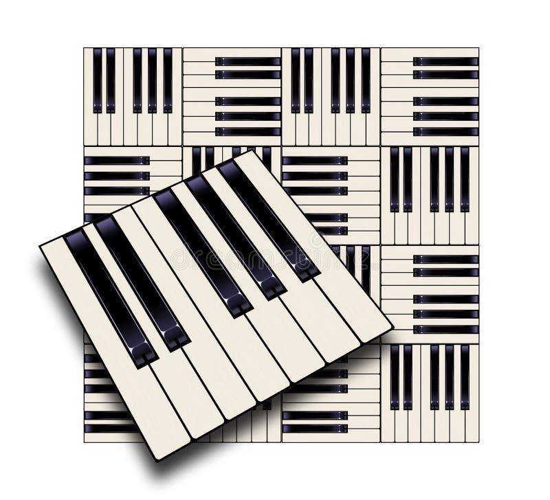 De pianosleutels op een ongebruikelijke manier worden gezien maakt een grafisch ontwerp in deze kleurenillustratie die De zwarte  royalty-vrije illustratie
