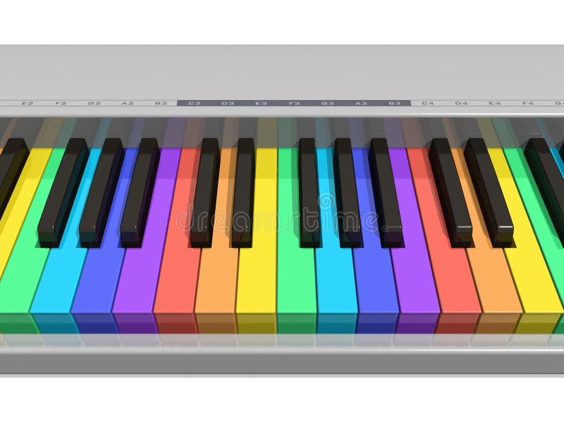 De pianotoetsenbord van de regenboog vector illustratie