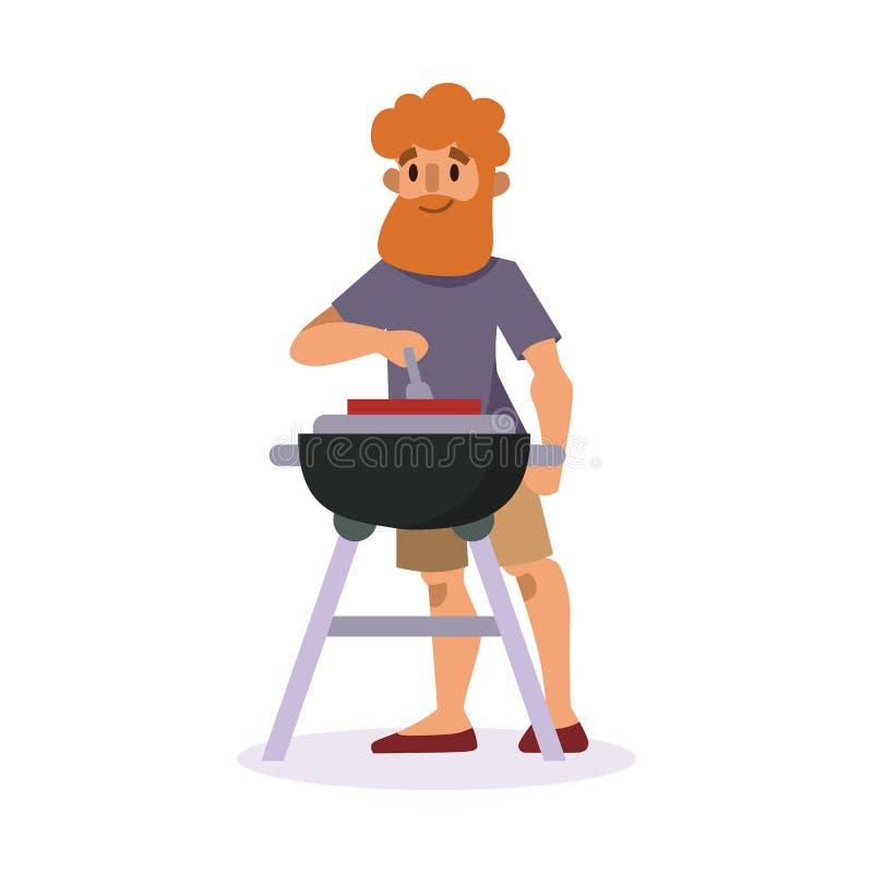 De picknick die met vers voedsel plaatsen belemmert de mens van de mandbarbecue rustend en de partij de tuinkarakter van de karak vector illustratie