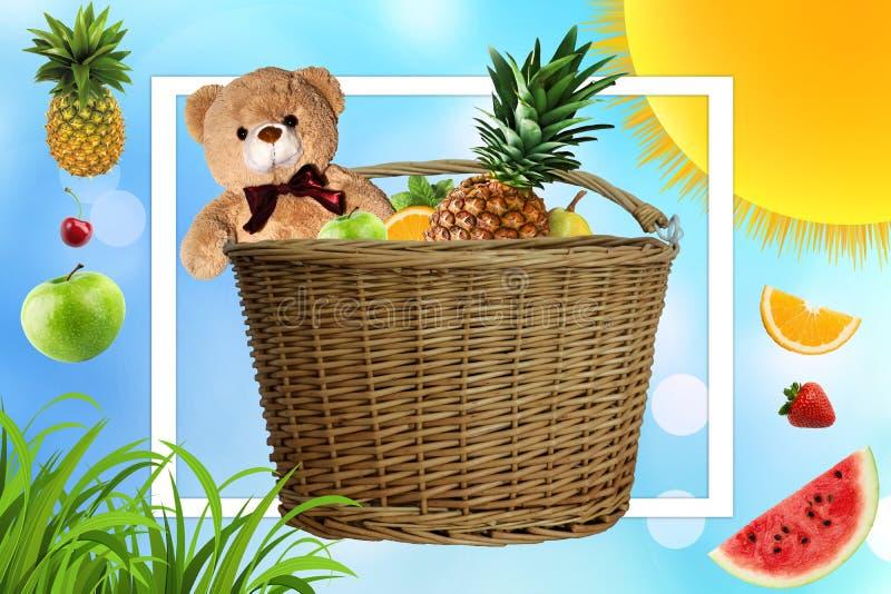 De picknick op een Zonnige de zomerdag, wordt de picknickmand gevuld met fruit Madeliefjes en de zon in het bedrijf van een Teddy royalty-vrije illustratie