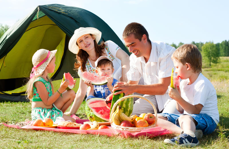 De picknick van de familie royalty-vrije stock fotografie