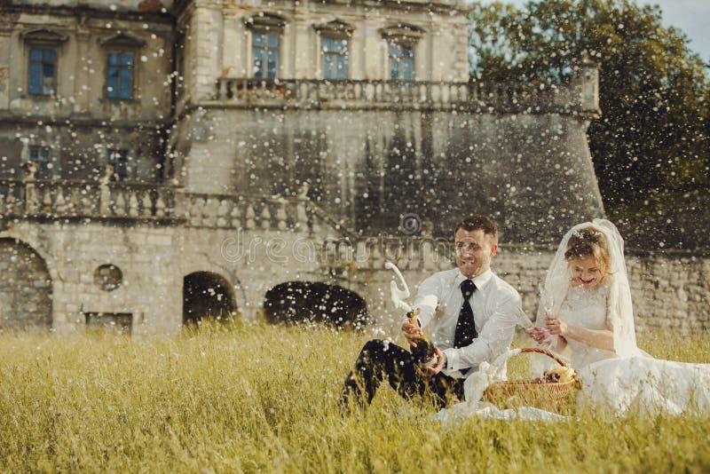 De picknick van het huwelijkspaar op het gras in de voorzijde van een oud kasteel stock afbeelding