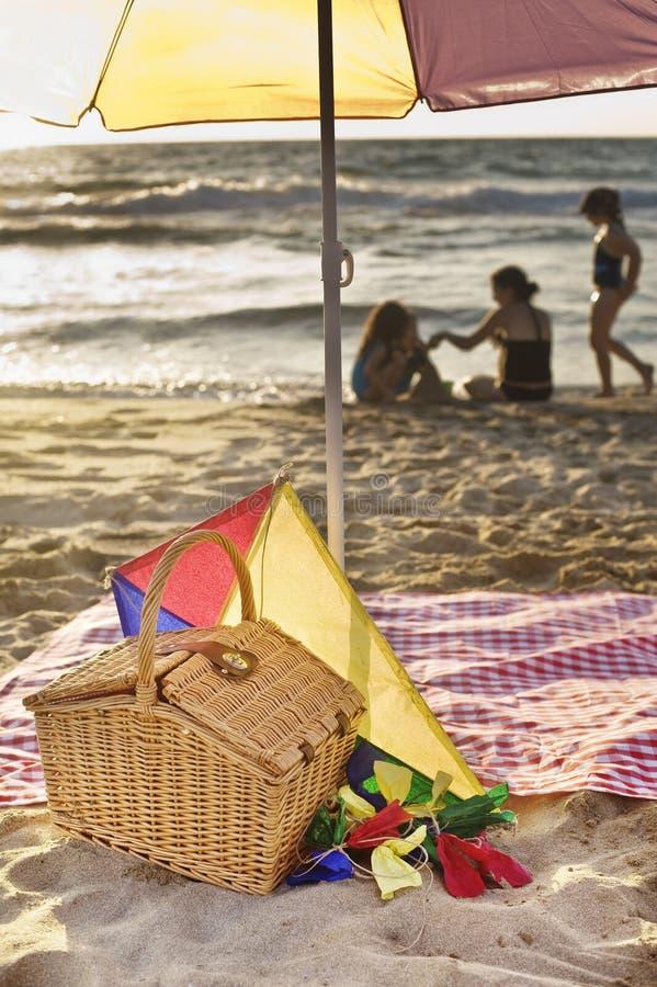 De picknick van het strand stock afbeelding