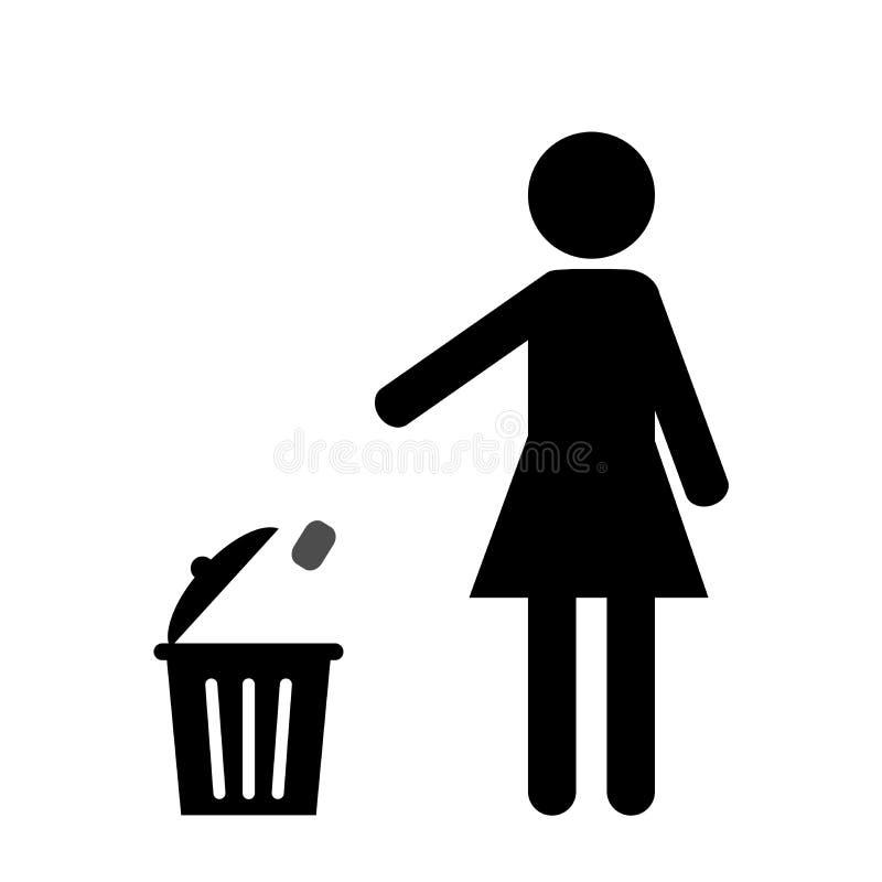 De pictogramdames werpen huisvuil in het afval royalty-vrije illustratie
