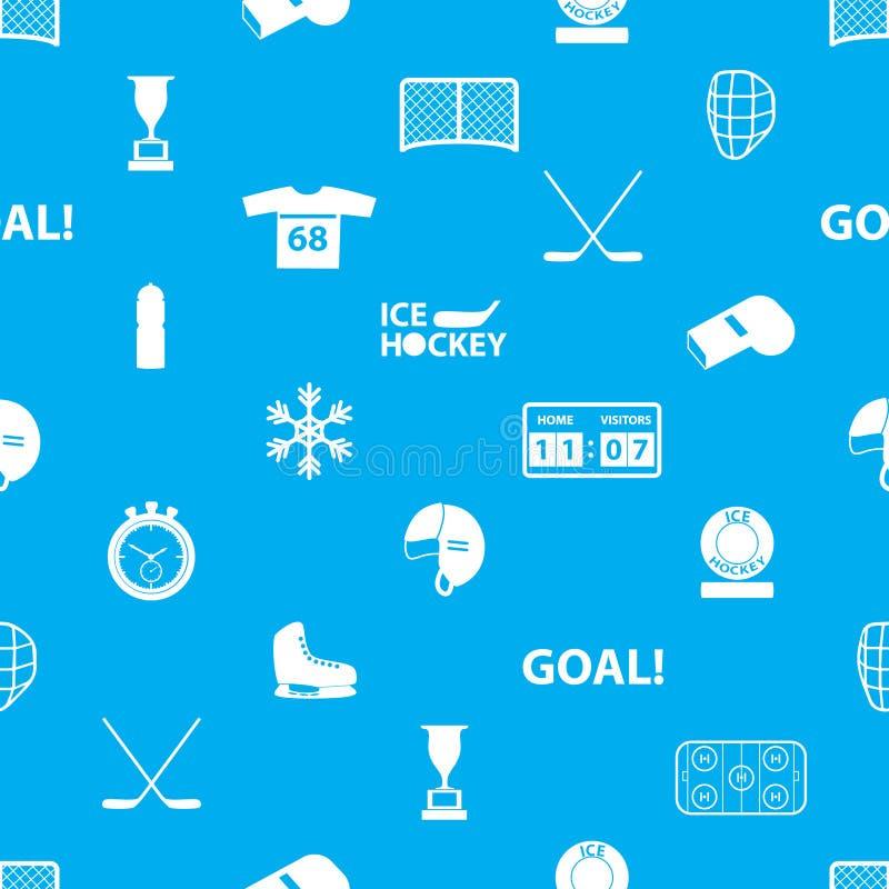 De pictogrammen blauw en wit naadloos patroon van de ijshockeysport stock illustratie