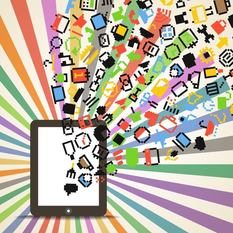 De pictogrammen die van Edia neer aan de computer vallen stock illustratie