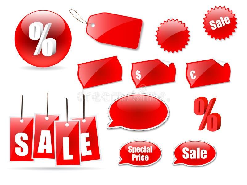 De pictogrammen en de etiketten van de verkoop royalty-vrije illustratie