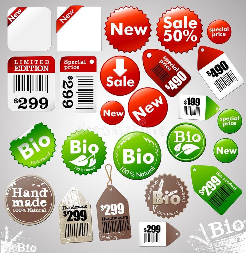 De pictogrammen en de etiketten van de verkoop stock illustratie