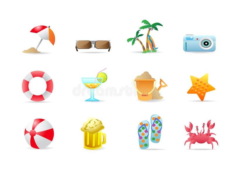 De pictogrammen en de producten van het strand stock illustratie