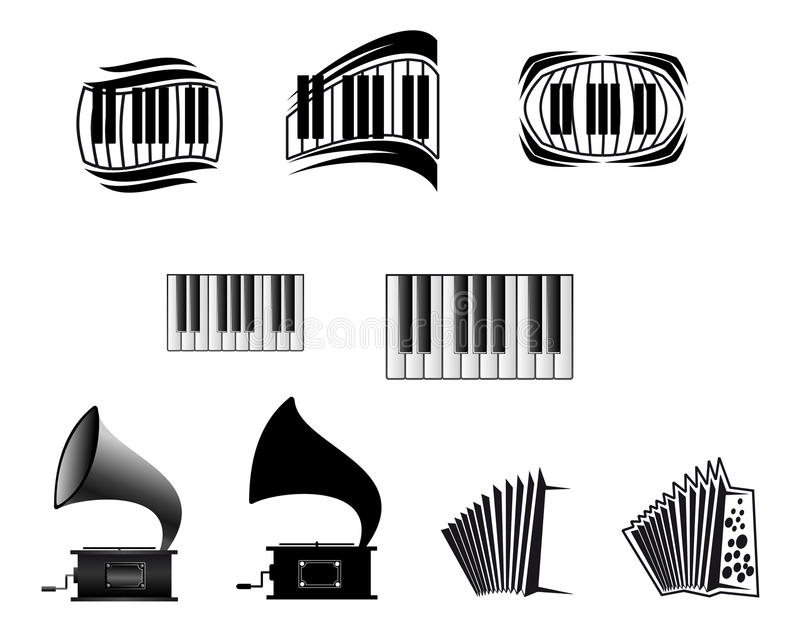 De pictogrammen en de symbolen van de muziek stock illustratie