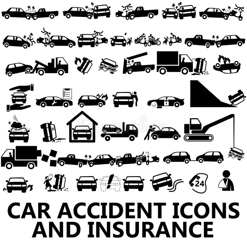 De pictogrammen en de verzekering van het autoongeval royalty-vrije illustratie