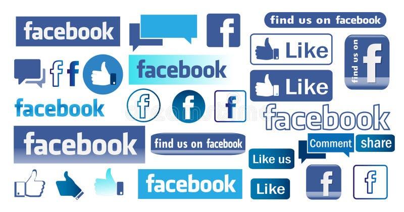De pictogrammen en het embleem van Facebook vector illustratie