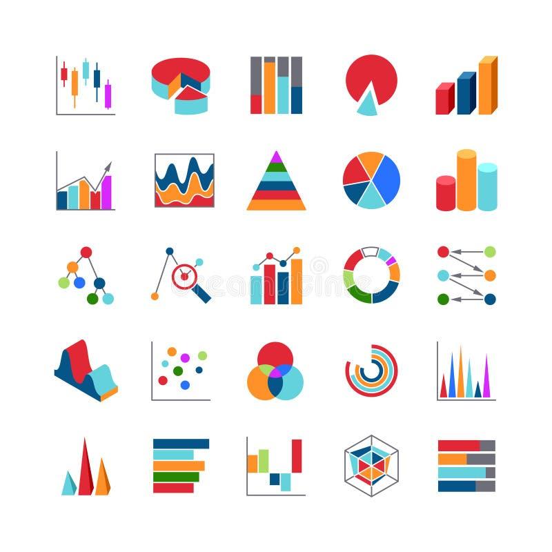 De pictogrammen markttendensen van bedrijfsgegevensgrafieken De grafieken van het Statsgeld en bar eenvoudige vectorsymbolen stock illustratie