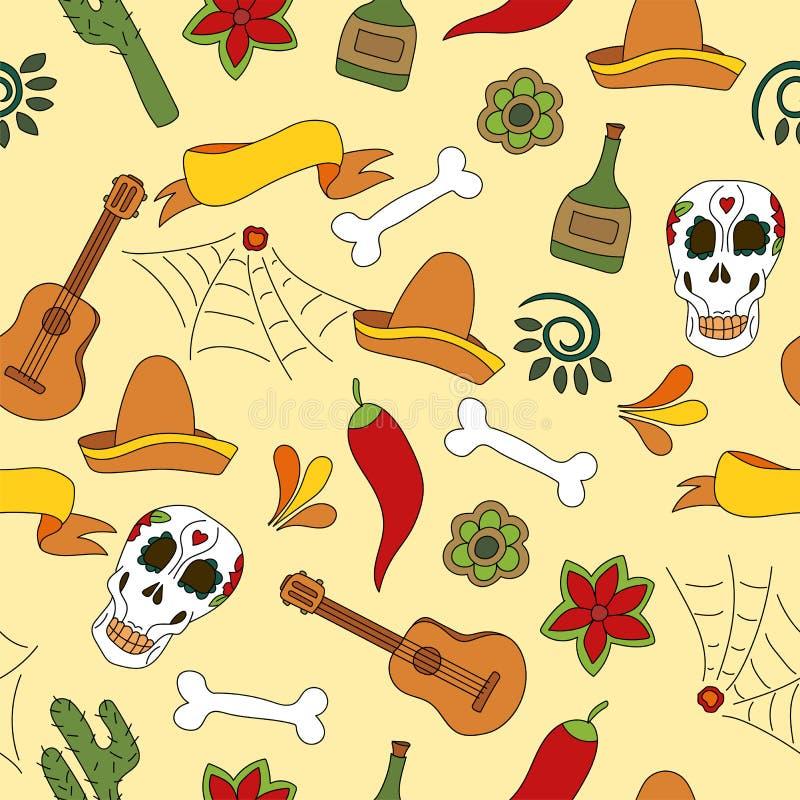 De pictogrammen naadloos patroon van Mexico - Traditionele Mexicaanse elementenachtergrond royalty-vrije illustratie