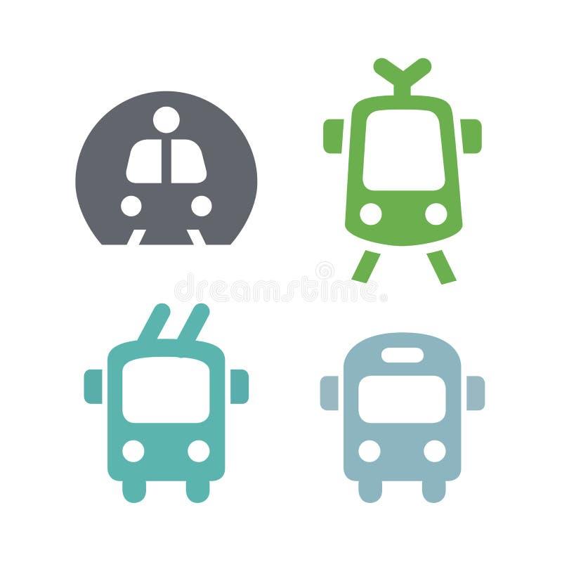 De pictogrammen ondertekenen eenvoudig openbaar vervoer Metro de tram van de bustrolleybus Zeer modieuze in in één stijl Vector i stock illustratie