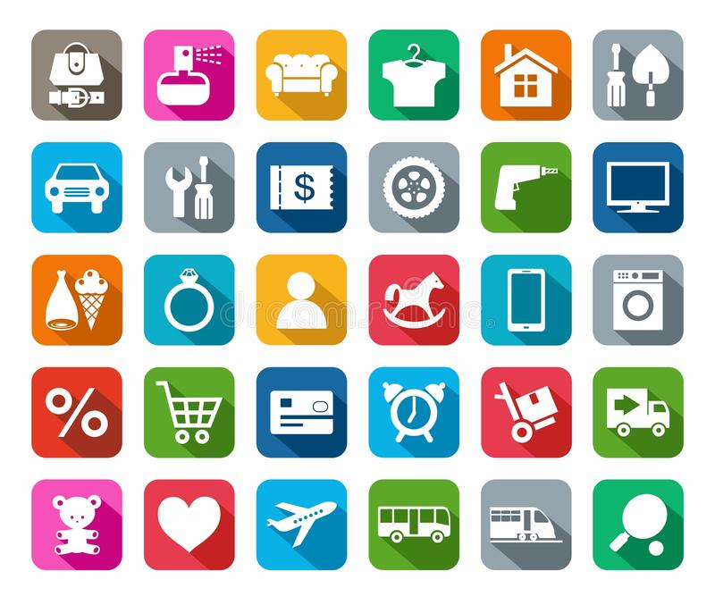 De pictogrammen, online opslag, categorieën van producten, kleurden achtergrond, schaduw stock illustratie