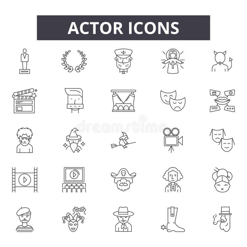 De pictogrammen van de acteurslijn De tekens van de Editableslag Conceptenpictogrammen: het drama, prestaties, toont, theater enz stock illustratie