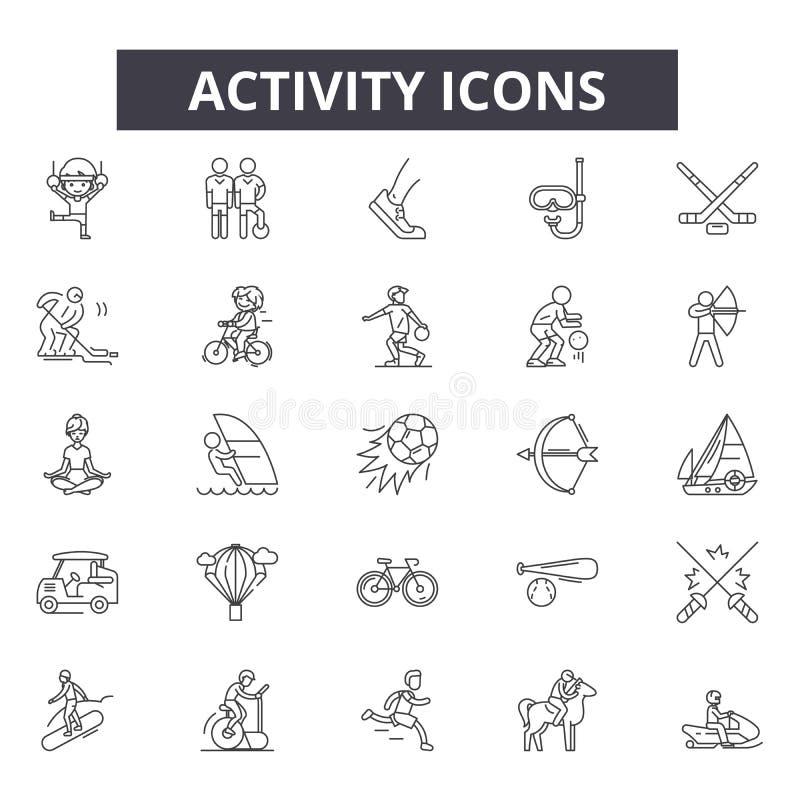 De pictogrammen van de activiteitenlijn, tekens, vectorreeks, het concept van de overzichtsillustratie royalty-vrije illustratie
