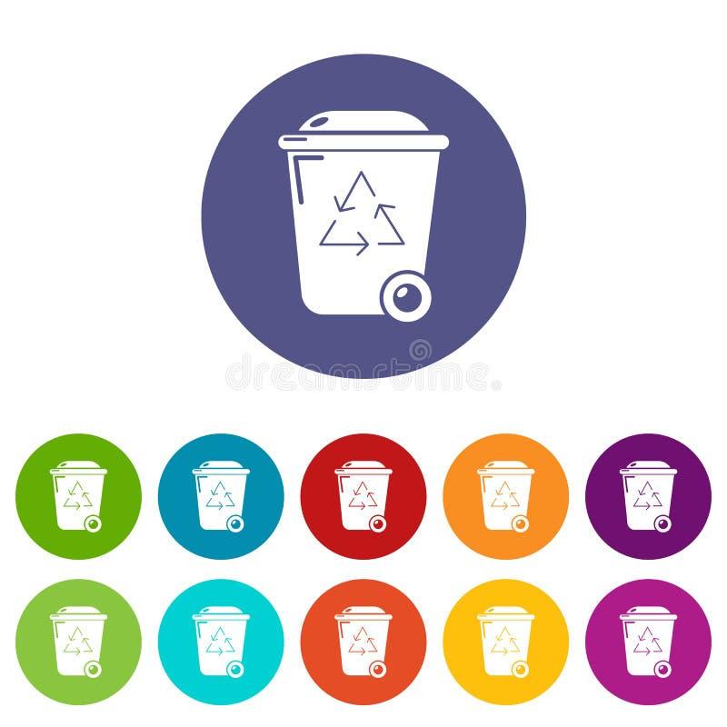 De pictogrammen van de afval wheelie bak geplaatst vectorkleur vector illustratie