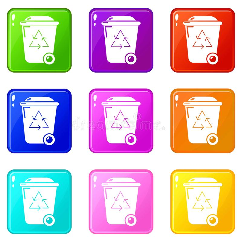 De pictogrammen van de afval wheelie bak plaatsen 9 kleureninzameling royalty-vrije illustratie