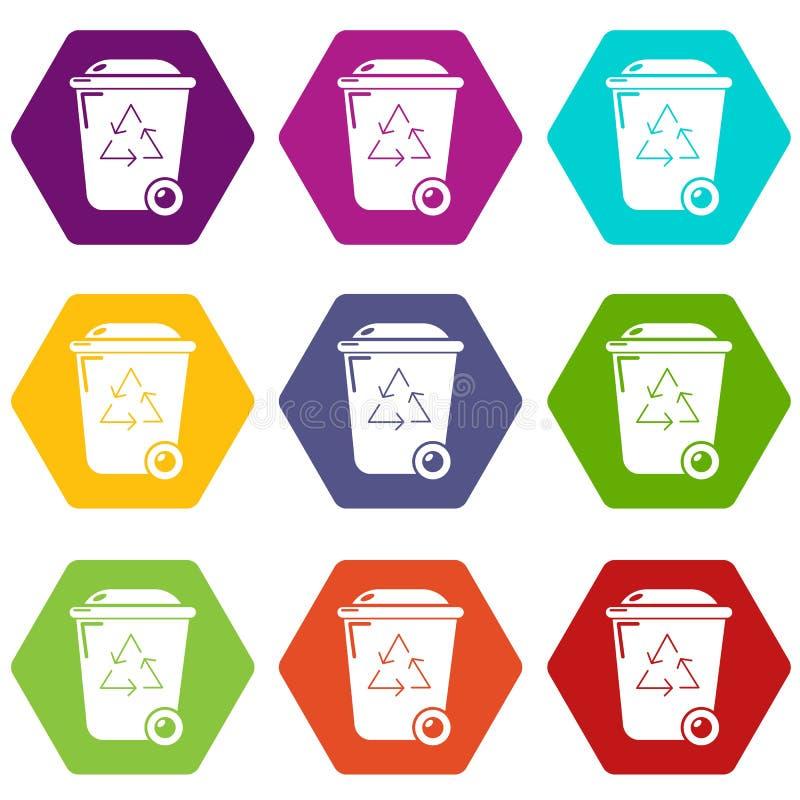 De pictogrammen van de afval wheelie bak plaatsen vector 9 vector illustratie