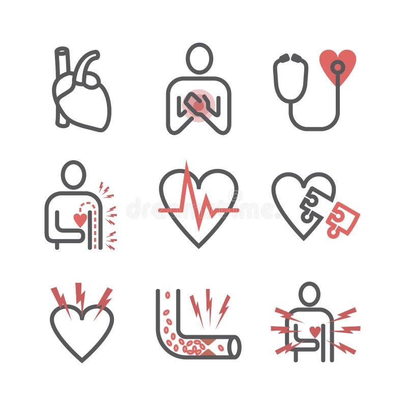 De pictogrammen van de angina pectorislijn symptomen Vectortekens voor Webgrafiek vector illustratie