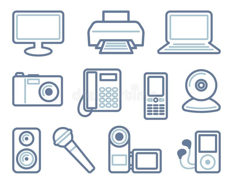 De pictogrammen van de apparatuur Vector illustratie stock illustratie