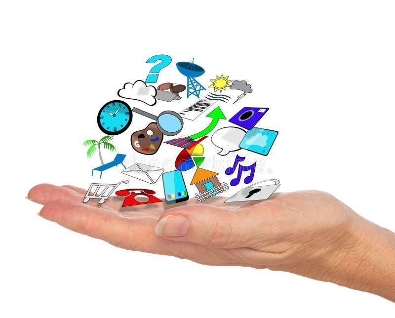 De Pictogrammen van Apps in de Palm van Hand stock afbeelding