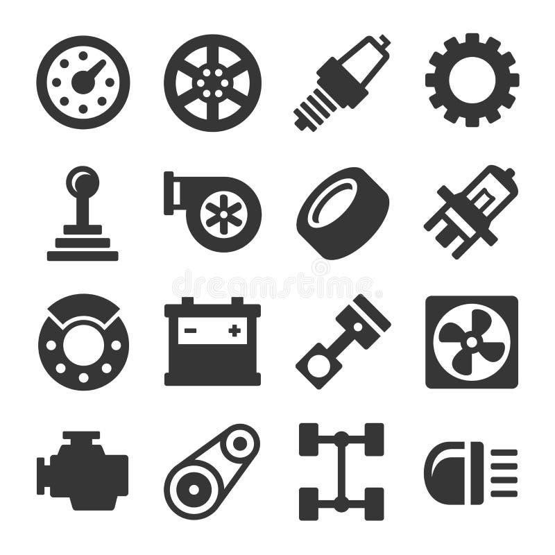 De Pictogrammen van autodelen op Witte Achtergrond worden geplaatst die Vector royalty-vrije illustratie