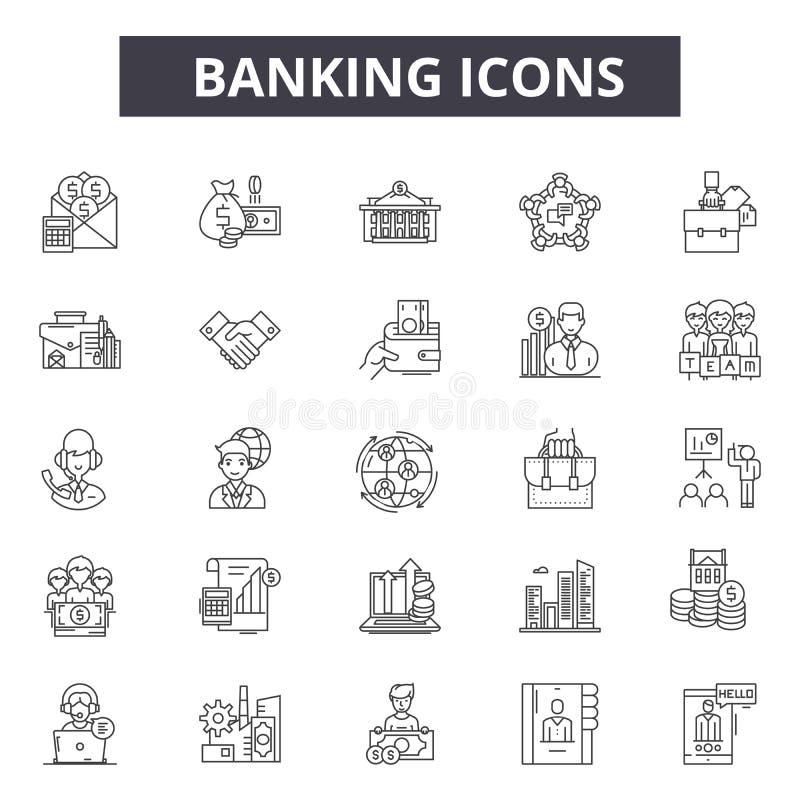 De pictogrammen van de bankwezenlijn voor Web en mobiel ontwerp De tekens van de Editableslag Het bank de illustraties van het ov vector illustratie